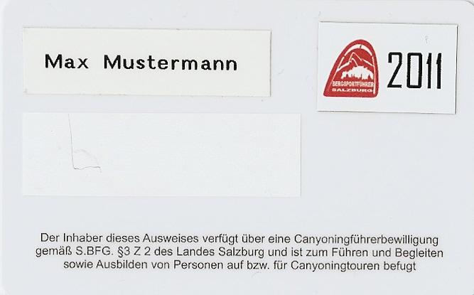 Ausweis - Salzburger Canyoningführer
